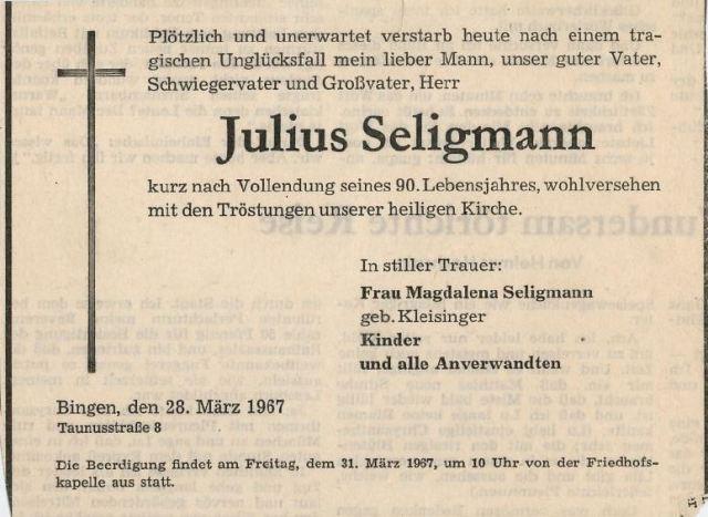 Julius Seligmann death notice