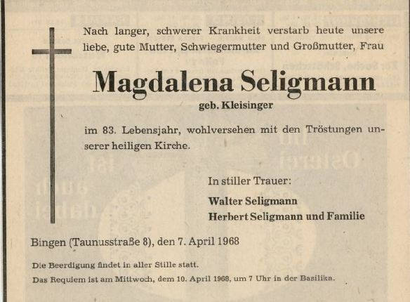 Magdalena Seligmann death notice