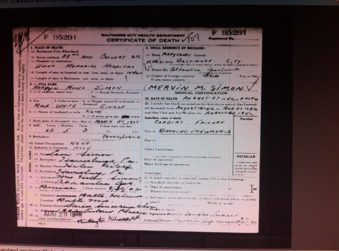 Death Certificates Answering Some Unanswered Questions