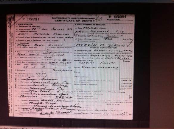 Mervyn Simon death certificate