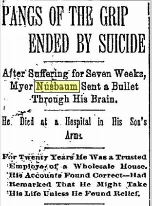 myer nusbaum suicide  jan 19 1894 phil inquirer page 1