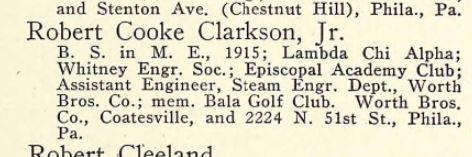 Robert Cook Clarkson Penn bio 1917