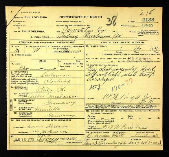 Sidney Nusbaum Sr death cert