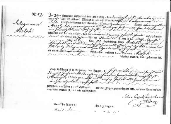 adolph seligman birth record