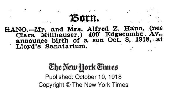 Alfred Hano birth announcement-page-001