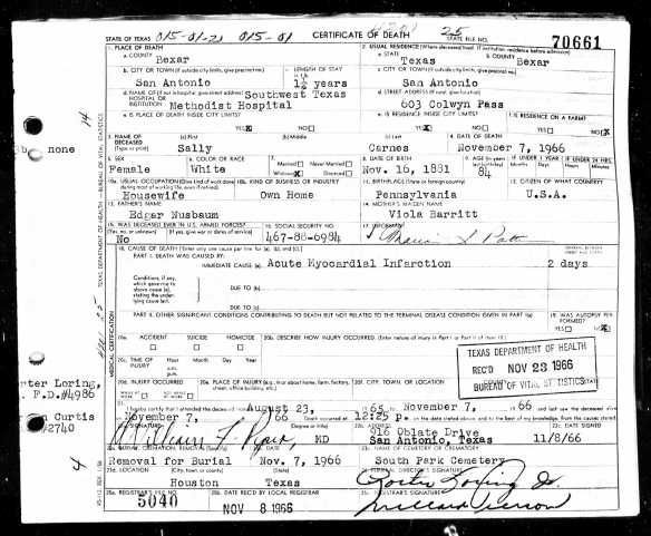 Ancestry.com. Texas, Death Certificates, 1903–1982 [database on-line]. Provo, UT, USA: Ancestry.com Operations, Inc., 2013.