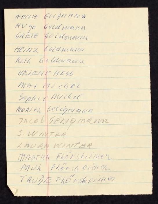 Handwritten List Of Names Fred Michel