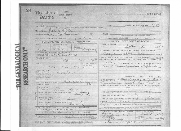 Jacob Hano death certificate 1922
