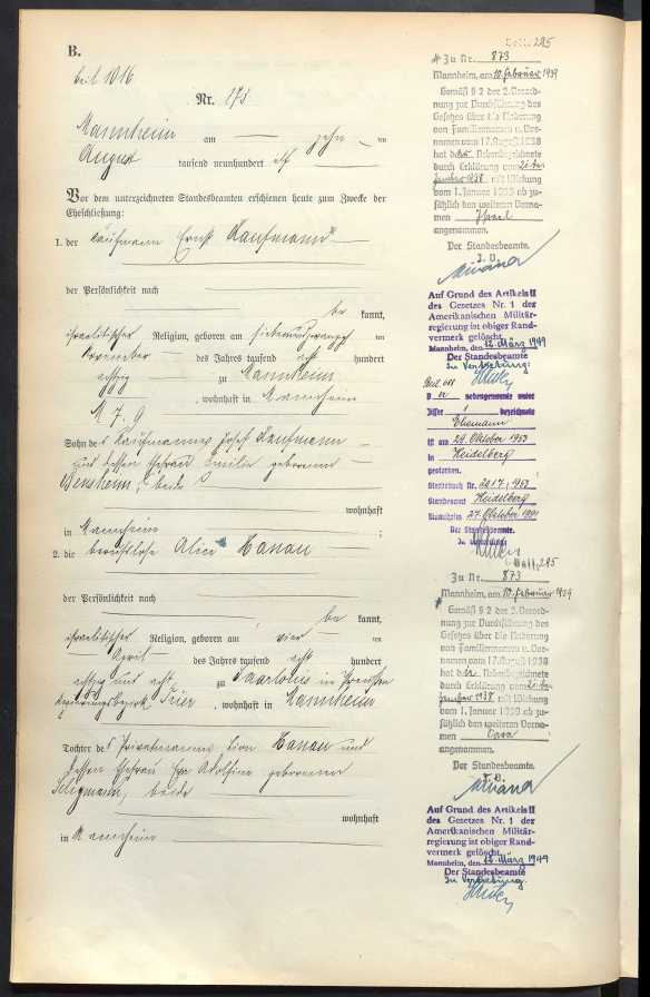 Marriage cert of Alice Hanau and Ernst Kaufmann