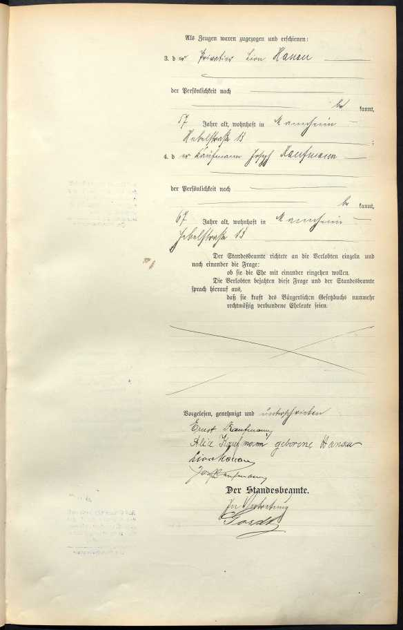 Marriage cert of Hanau Kaufmann p 2