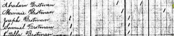 Abraham Brotman 1895 NJ census Ancestry.com. New Jersey, State Census, 1895 [database on-line]. Provo, UT, USA: Ancestry.com Operations Inc, 2007. Original data: New Jersey Department of State. 1895 State Census of New Jersey. Trenton, NJ, USA: New Jersey State Archives. 54 reels.