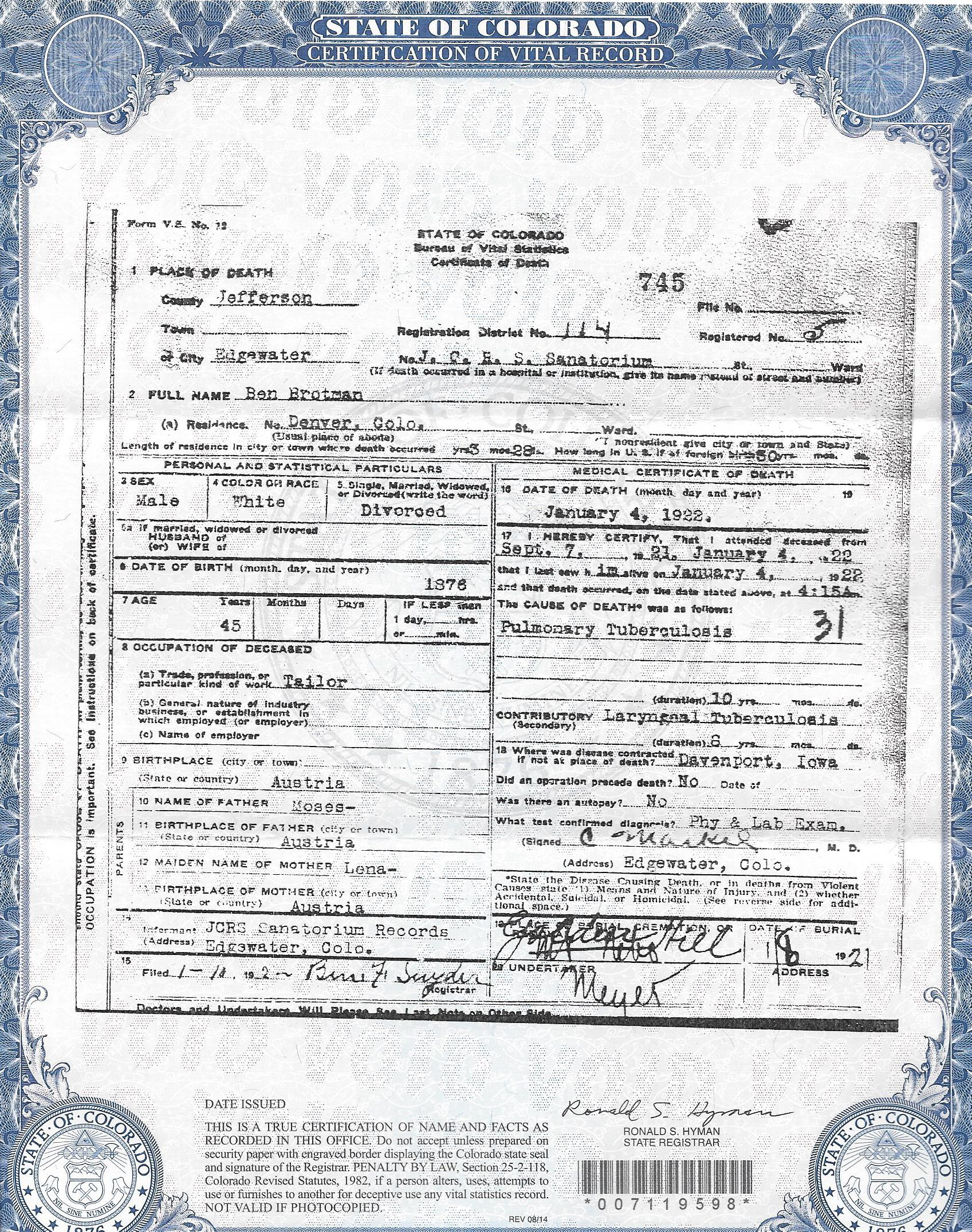 One for the road how i found another brotman brotmanblog a benjamin brotman death certificate xflitez Images