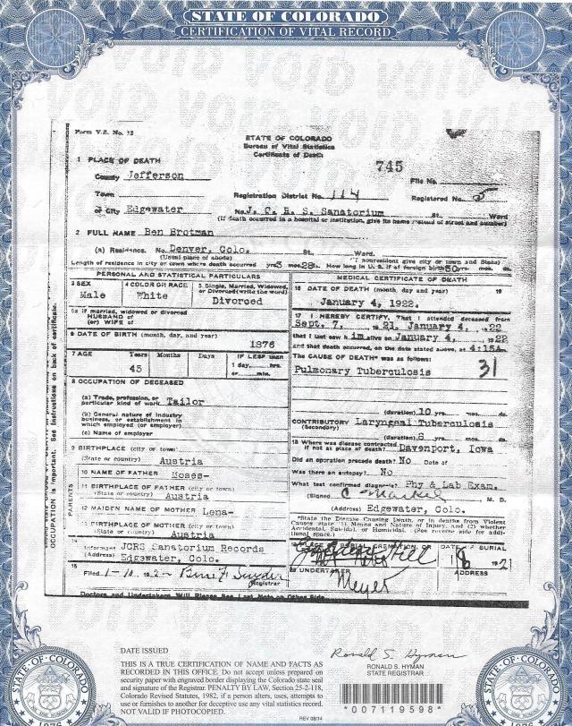 Benjamin Brotman death certificate