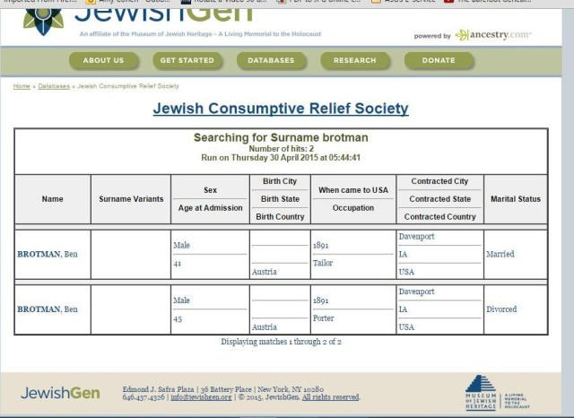 JCRS record for Ben Brotman from JewiishGen