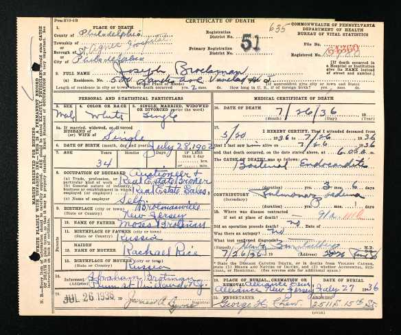 Joseph Brotman (Moses' son) death certificate Ancestry.com. Pennsylvania, Death Certificates, 1906-1963 [database on-line]. Provo, UT, USA: Ancestry.com Operations, Inc., 2014. Original data: Pennsylvania (State). Death certificates, 1906–1963. Series 11.90 (1,905 cartons). Records of the Pennsylvania Department of Health, Record Group 11. Pennsylvania Historical and Museum Commission, Harrisburg, Pennsylvania.