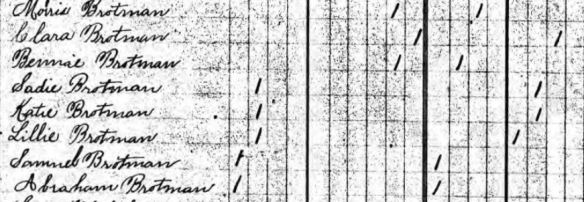 Moses Brotman 1895 NJ census Ancestry.com. New Jersey, State Census, 1895 [database on-line]. Provo, UT, USA: Ancestry.com Operations Inc, 2007. Original data: New Jersey Department of State. 1895 State Census of New Jersey. Trenton, NJ, USA: New Jersey State Archives. 54 reels.