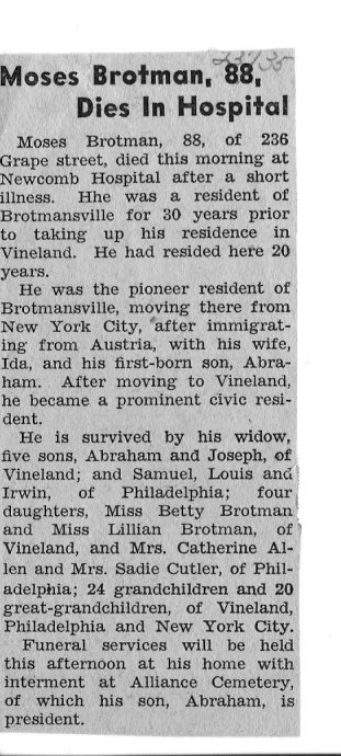 Moses Brotman obituary