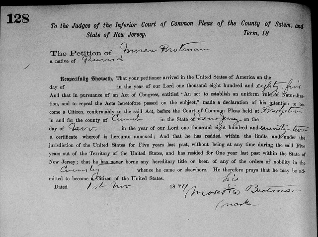 Moses Brotman petition for Naturalization