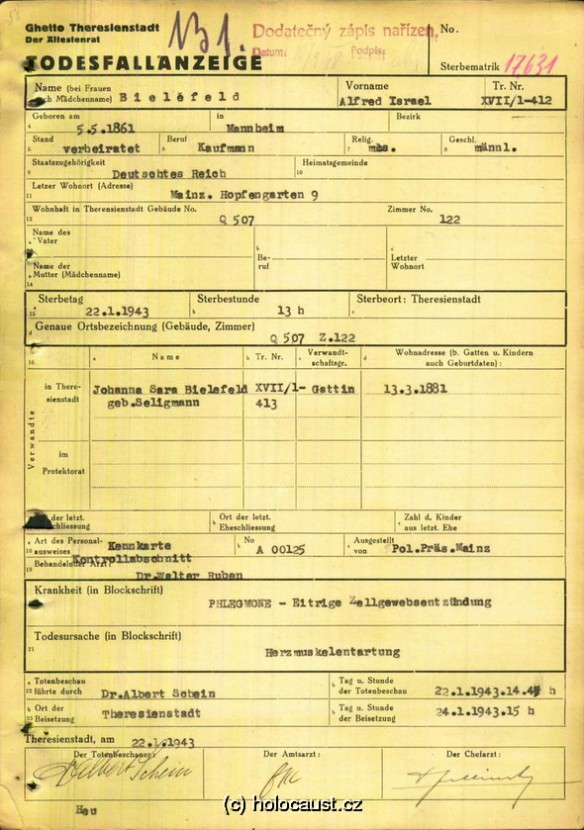 Albert Bielefeld death certificate from Terezin