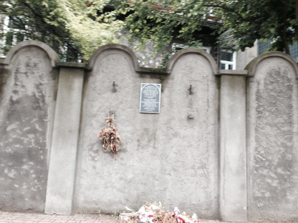 Ghetto Wall in Podgorze, built to look like headstones to demoralize the Jewish residents