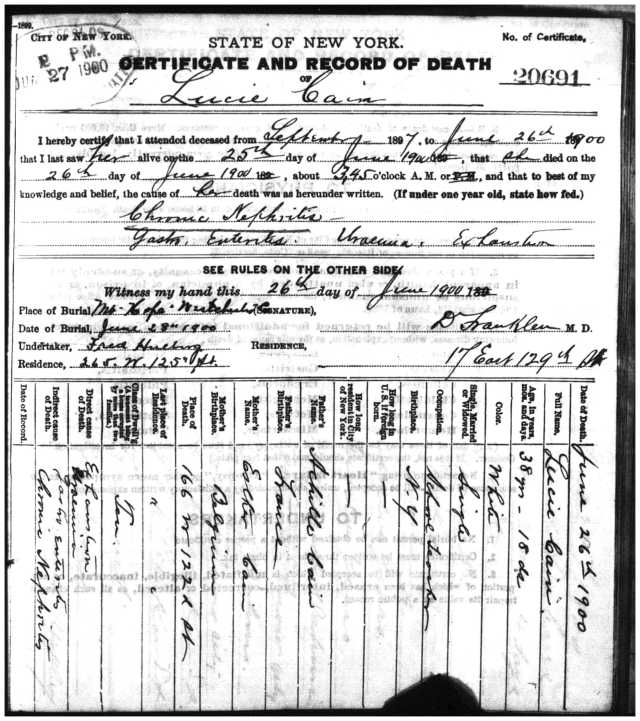 Death certificate for Lucie Cain, George Cain's sister