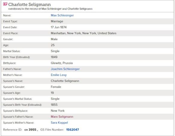 Charlotte Seligmann marriage record