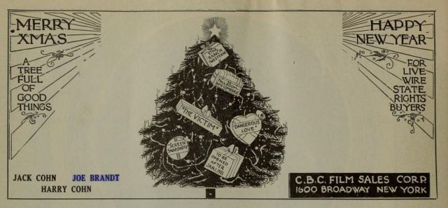 Christmas ad in The Film Daily December 1920  p 1484