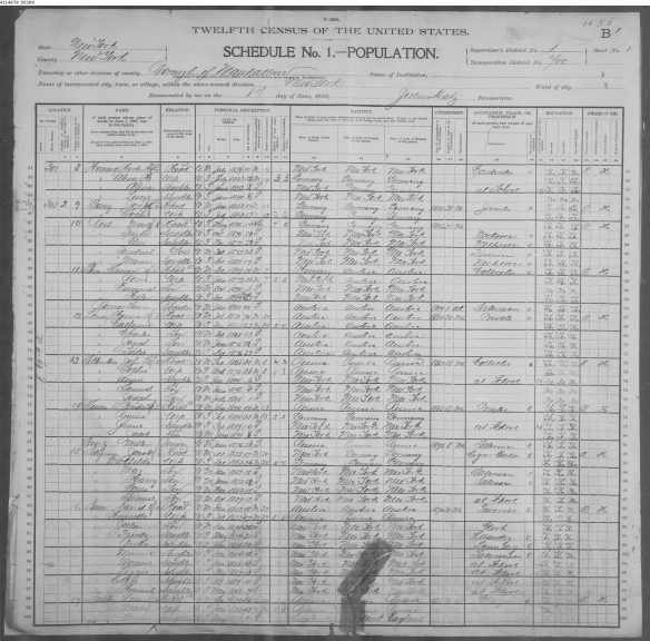 Jacob Seligman and Mathilde Kerbs 1900 census
