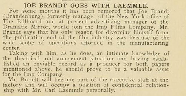 Joe Brandt goes to Laemmle