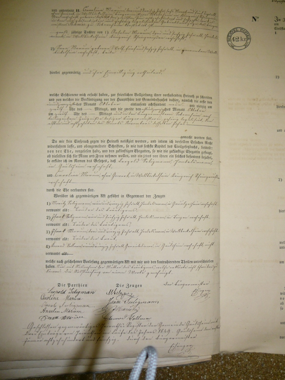 Marriage Record of Leopold Seligmann and Caroline Marum