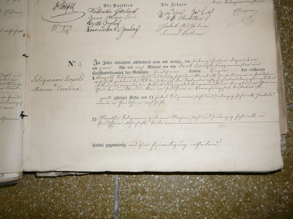 Leopold Seligmann marriage record