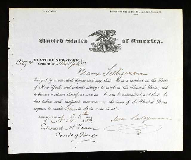 Marx Seeligman petition for naturalization