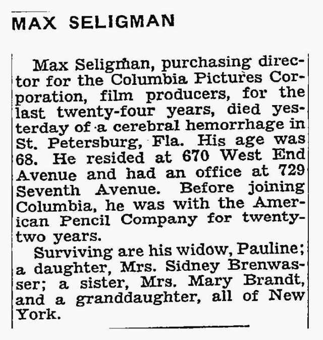 Max Seligman NYT Obit