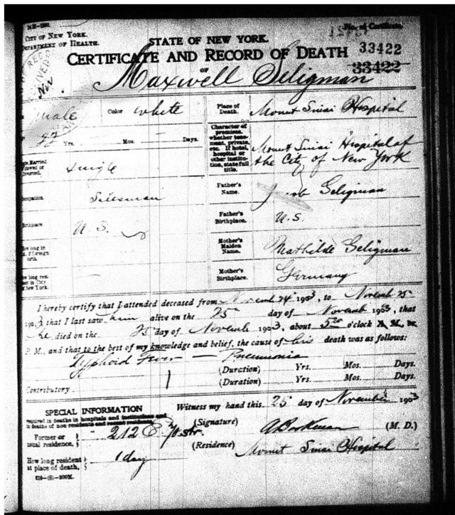 Maxwell Seligman death certificate 1903
