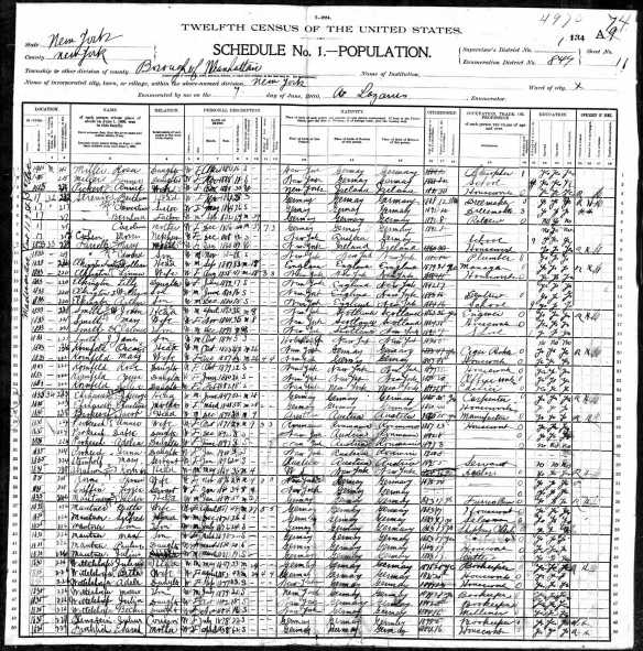 Oscar and Mary Kornfeld 1900 US census Year: 1900; Census Place: Manhattan, New York, New York; Roll: 1119; Enumeration District: 0849; FHL microfilm: 1241119