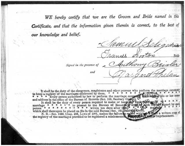 Seligman - Horton marriage page 2