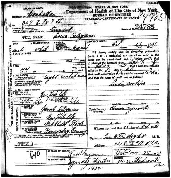 Louis Seligman death certificate 1931