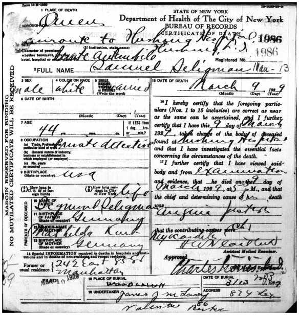 Samuel Seligman death certificate 1929