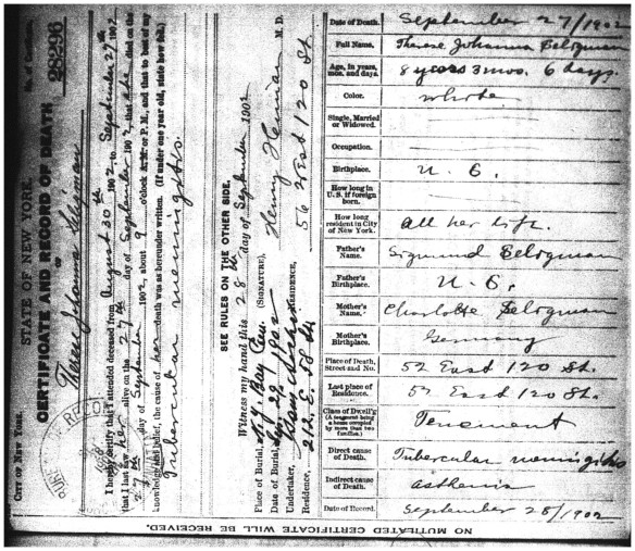 Theresa Seligman death certificate