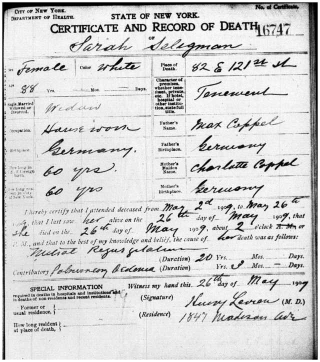 Death Certificate for Sarah Koppel Seligman, wife of Sigmund