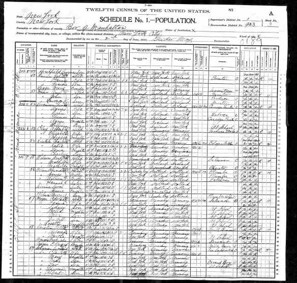 Sigmund and Sarah Seligman 1900 US census  Year: 1900; Census Place: Manhattan, New York, New York; Roll: 1123; Page: 3A; Enumeration District: 0933; FHL microfilm: 1241123