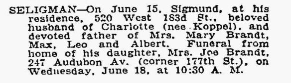 Sigmund Seligman death notice NYT June 1924