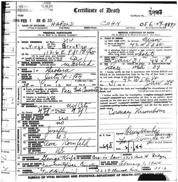 Cohn, Harold death page 1