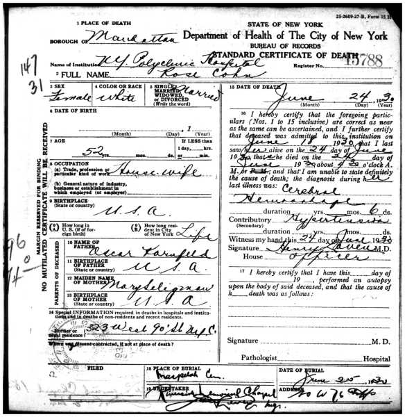 Rose Cohn death certificate