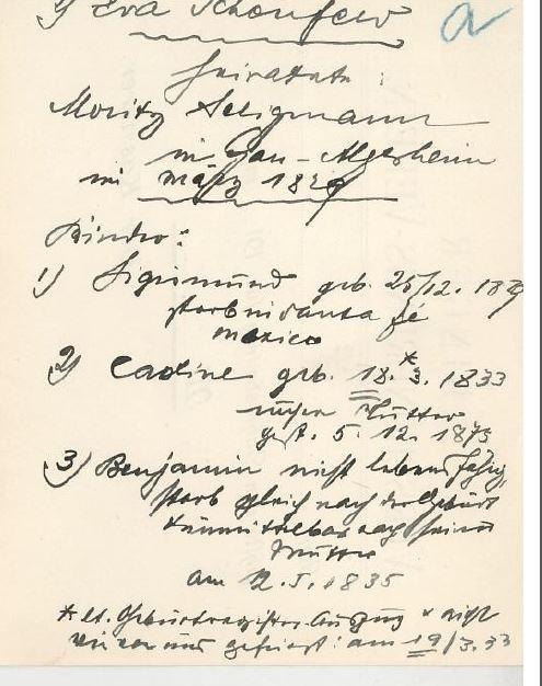 Handwritten notes about Moritz 2