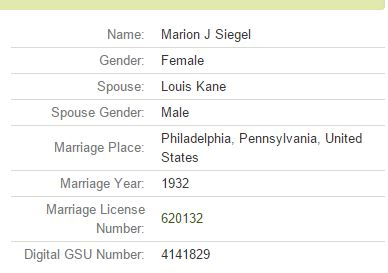 "Pennsylvania, Philadelphia Marriage Index, 1885–1951."" Index. FamilySearch, Salt Lake City, Utah, 2009. Philadelphia County Pennsylvania Clerk of the Orphans' Court. ""Pennsylvania, Philadelphia marriage license index, 1885-1951."" Clerk of the Orphans' Court, Philadelphia, Pennsylvania."