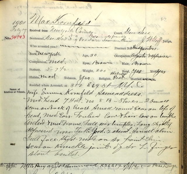 New York State Archives; Albany, New York; Sing Sing Prison, 1852-1938; Box: 14; Volume: 36