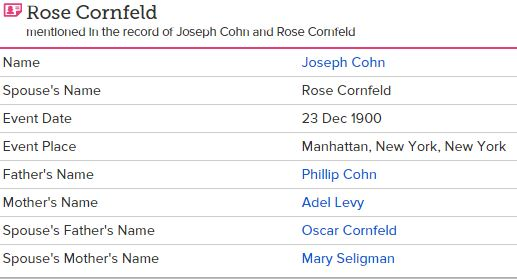 "New York, Marriages, 1686-1980,"" , FamilySearch (https://familysearch.org/ark:/61903/1:1:F6HY-Z96 : accessed 8 August 2015), Joseph Cohn and Rose Cornfeld, 23 Dec 1900; citing reference ; FHL microfilm 1,570,443."