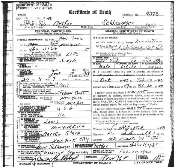 Schlesinger, Arthur 1943 death page 1