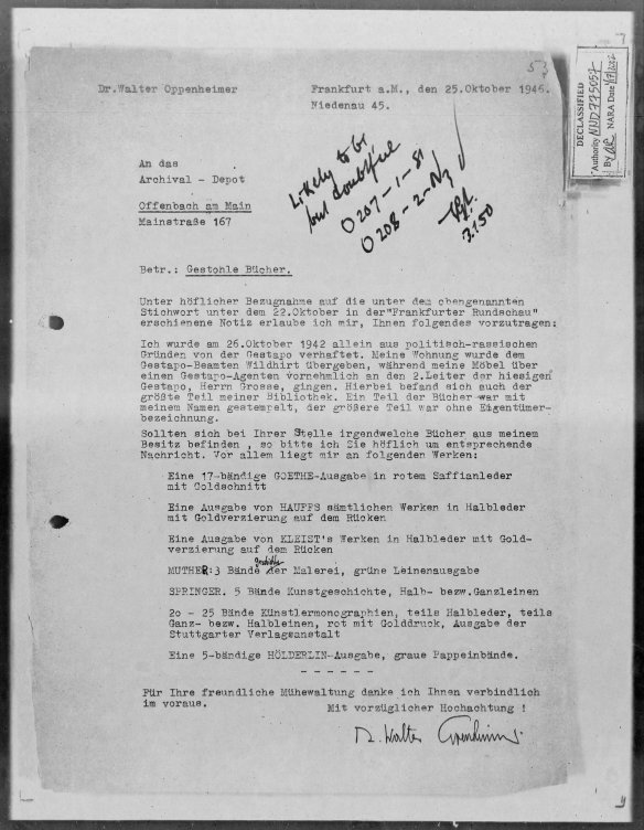 Walter Oppenheimer letter